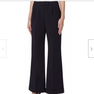 Tahari By ASL Navy Flared Pleated Polyester Pants